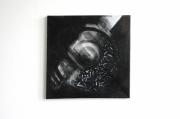 tableau abstrait cercle posca carre noir : Tableau original - Cercle