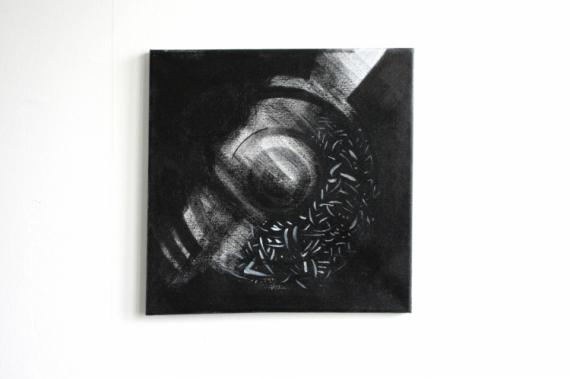 TABLEAU PEINTURE cercle posca carré noir Abstrait Acrylique  - Tableau original - Cercle