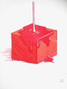 other abstrait cube gravure sur bois liquide graphique : Cube nappé
