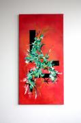 tableau abstrait abstrait vertical feuille vegetal : Tableau original - Feuillage