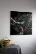 tableau animaux abstrait peinture au couteau empatement matiere : Tableau original - Eléphant