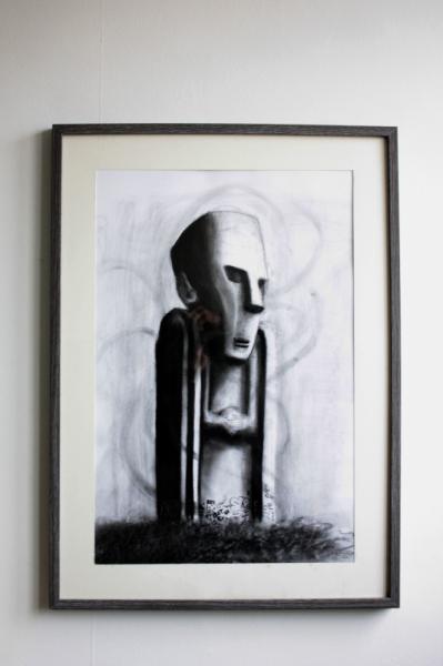 DESSIN statue impassible graffiti ombre Paysages Fusain  - Dessin original - Statue