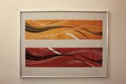 mixte abstrait gravure sur bois impression abstrait xylogravure : Les vagues