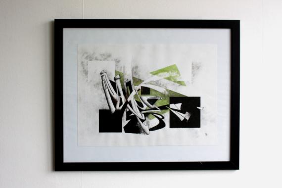DESSIN abstrait courbes encre lavis Abstrait Encre de Chine  - Dessin original - Composition