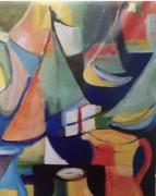tableau abstrait : Navigue petit bateau