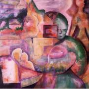tableau abstrait : Rêve d'un jeune couple