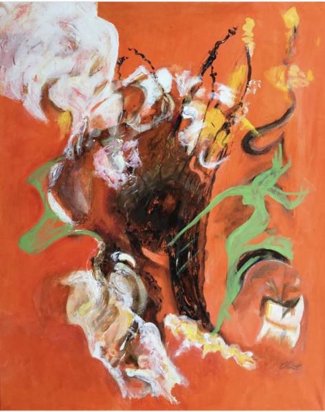 TABLEAU PEINTURE Abstrait Acrylique  - Danse autour du panier