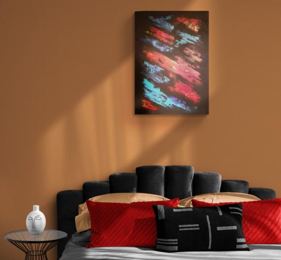TABLEAU PEINTURE noir rouge bleu abstrait Acrylique  - Morning Dew