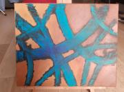 tableau abstrait bleu turquoise marron noir : Jungle