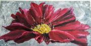 tableau fleurs : Fleur rose moderne