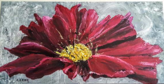 TABLEAU PEINTURE Fleurs Peinture a l'huile  - Fleur rose moderne
