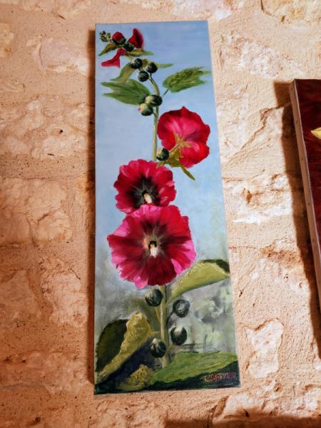 TABLEAU PEINTURE Fleurs Peinture a l'huile  - Rose trémière