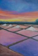 tableau paysages : Coucher de soleil sur les marais salants