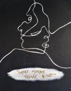 tableau personnages personnage toile noir visage : Greats minds think alive