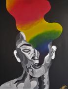 tableau personnages toile acrylique personnage noir : Le feu intérieur