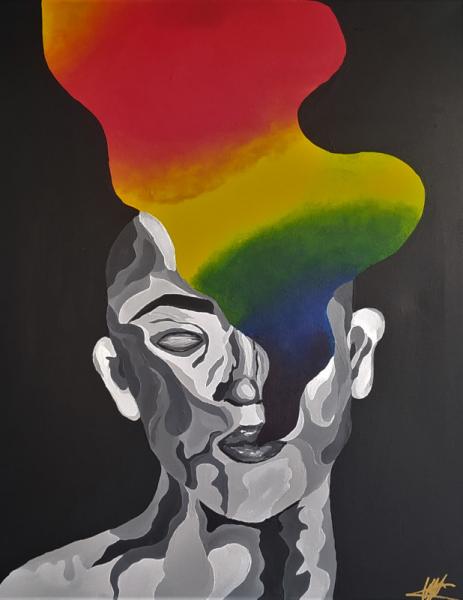 TABLEAU PEINTURE toile acrylique personnage noir Personnages Acrylique  - Le feu intérieur
