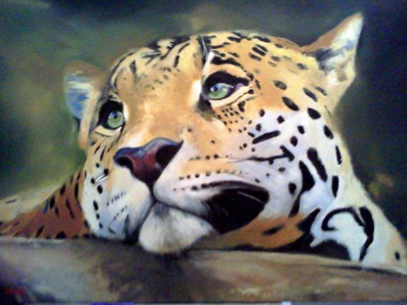 TABLEAU PEINTURE Léopard panthère félin Animaux Peinture a l'huile  - La panthère