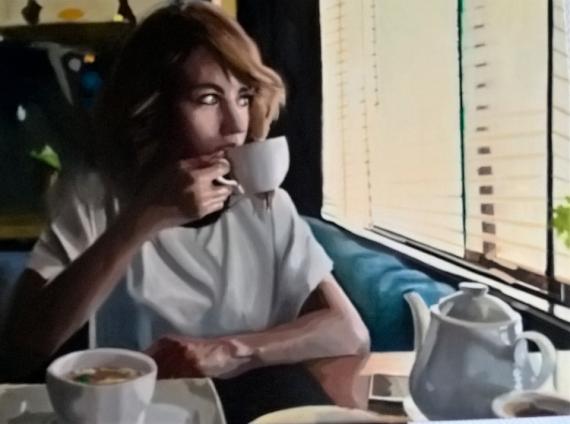 TABLEAU PEINTURE Femme salon de thé jolie Scène de genre Peinture a l'huile  - La tasse de thé