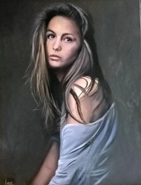 TABLEAU PEINTURE femme jolie Personnages Peinture a l'huile  - LE REGARD D'OPHELIE