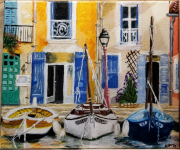 tableau marine port provence bateau midi : Petit Port Provençal