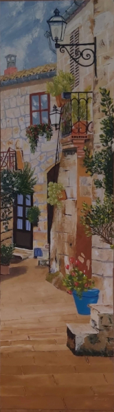 TABLEAU PEINTURE Ruelle fleurs Village Italie Villes Peinture a l'huile  - Ruelle Italienne