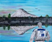 tableau sport judo japon lac mont fuji : Un judoka au Japon