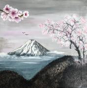 tableau fleurs fleurs cerisier mont fuji colline : Les cerisiers en fleurs