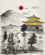 tableau architecture japon samourai samurai temple dor : Le ronin (Japon, Kinkaku ji, Mont Fuji)