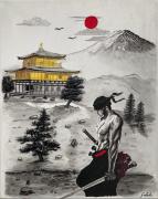 tableau personnages zoro roronoa mont fuji samourai kinkaku ji : zoro Roronoa au Japon