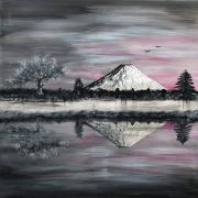 tableau paysages fuji cerisier zen coucher de soleil : Le Mont Fuji et le cerisier 2