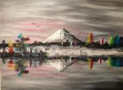 tableau abstrait couleur zen fuji lac : Zénitude Joyeuse