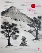 tableau personnages samourai japon fuji soleil : samouraï aux aguets