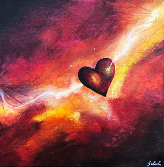TABLEAU PEINTURE Coeur Amour Coup de foudre Eclair Abstrait Acrylique  - Le coup de foudre de Cupidon