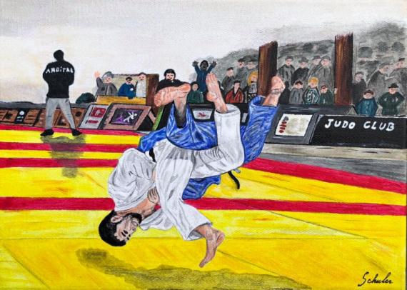 TABLEAU PEINTURE Judo combat arts martiaux mouvement Sport Acrylique  - Le shiai, projection de judo