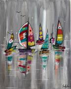 tableau marine regate voiliers base de voile mer : La petite Régate