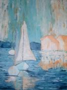 tableau marine marine voiliers port tableau contemporain : Voiliers au port