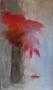 tableau fleurs fleurs rouge coquelicots peinture ,a l hu rouge : Effusion
