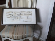 tableau marine aquarelle marine encre de chine bassin d arcach bateau pinasse : Orage