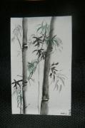 tableau fleurs encre de chine peinture chinoise : Fleurs de Bambous