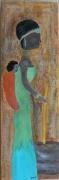 tableau personnages tableau africain africaine peinture africaine personnage d af : Africaine pilant du mil