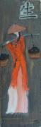 tableau personnages tableau ethnique femme chinoise femme peinture chinoise : Chinoise portant du riz
