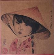 tableau personnages portrait fillette chinoise lotus aquarelle : Fleurs de Lotus
