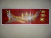 tableau abstrait abstrait contemporain rouge or : Venise Abstrait
