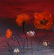 tableau fleurs coquelicots fleurs marguerites : Coquelicots