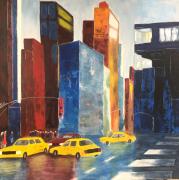 tableau villes new york building taxis jaunes urbain : New York _ 2020