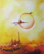 tableau abstrait fantastique futur espace vaisseaux : Départ