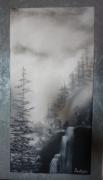 tableau paysages cascades montagne sapins eau : Chutes d'eau (me contacter)