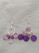 bijoux boucles doreilles non symetriques violet argente : Boucles d'oreilles asymétriques
