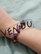 bijoux rouge violet bleu bracelet : Bracelet Allium, Plumbago et Albizia