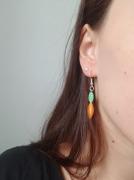 bijoux orange vert boucles doreilles argente : Boucles d'oreilles oranges et vertes